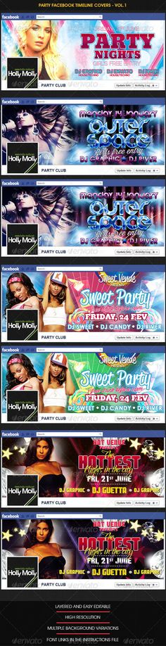 Party Facebook Timeline covers  Vol.1 — Photoshop PSD #disco #people • Download here → https://graphicriver.net/item/party-facebook-timeline-covers-vol1/2874553?ref=pxcr