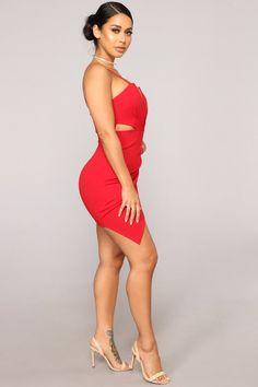 Available In RedSpaghetti StrapsPadded BraBack ZipperRuched Side lengthSelf: Polyester; Fashion Nova Models, Curvy Women Fashion, Red Fashion, Sexy Outfits, Sexy Dresses, Fashion Dresses, Club Outfits, Pretty Latinas, Thighs Women
