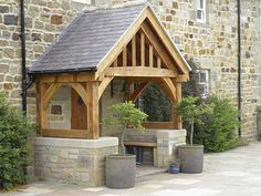 Oak Front Door Canopy Porch Bespoke Hand Made Porch - Size 2 . Front Door Canopy, Porch Canopy, Porch Bench, Front Door Porch, Front Porch Design, Entry Bench, Door Entry, Side Porch, House With Porch