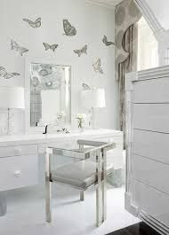 italian glass butterfly mural for this silver and white dressing area in a suffern, new york, estate designed by interior designer extraordinaire daun curry Sicis Mosaic, Casa Clean, Interior And Exterior, Interior Design, Wall Finishes, My New Room, White Cabinets, My Dream Home, Sweet Home