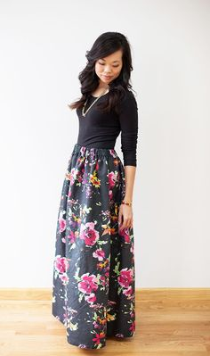 WEAR: DIY floral maxi skirt | neato! bonito. This is super pretty. Good tute. enough fullness to add POCKETS!