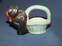 Vintage Small Black Cat Made in Japan Blue Basket Figurine Red Bow Decor