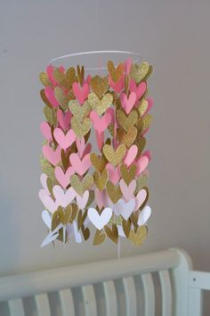 Pink and Gold Heart Shaped Ombre Paper Crib Mobile, Girl Mobile, Modern Mobile, Geometric Mobile, Ombre Mobile, Heart Mobile