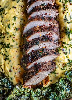 Peppercorn and Garlic Pork Tenderloin with Ricotta Herb Polenta - A delicious, quick and easy dinner on the table in 30 minutes or less | Mommyhood's Diary