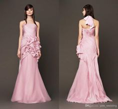 Discount 2015 Newest Prom Dress With Strapless Pleated Tulle Elastic Satin Floor Length Pink Evening Gowns Custom Made Formal Dress 2014 On Sale Online with $101.04/Piece   DHgate