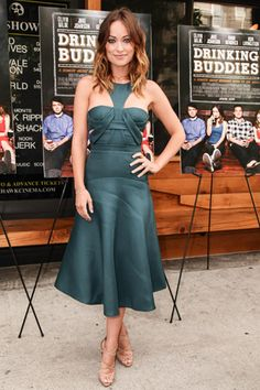 Olivia Wilde attended a screening of her new film, Drinking Buddies, in a dark green dress from the J. Mendel Pre-Fall '13 collection.