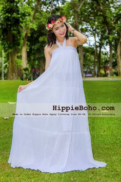7e5a739ccd6 No.381 - Size XS-7X Hippie Boho Clothing Gypsy White Plus Size Strap Tiered Maxi  Dress