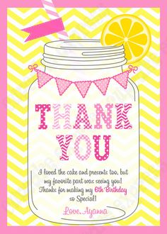 Pink Lemonade Sunshine Birthday Party Thank You by CupcakeExpress Sunshine Birthday Parties, 6th Birthday Parties, 2nd Birthday, Birthday Ideas, Pink Lemonade Party, Printable Thank You Cards, My Favorite Part, Kid Names, First Birthdays