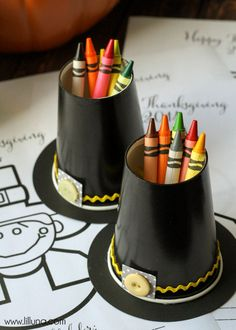 Pilgrim Hat Crayon Cup Holder tutorial on { lilluna.com } CUTE!