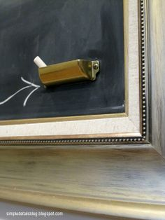 Create an instant chalk holder with a cabinet pull.
