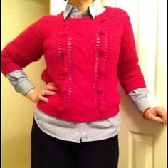 Chunky Chic Three Quarter Sleeve Sweater Chic 25% Wool Gray Chunky Crocheted Pullover Sweater with oversized ball detailing. Photo with grey sweater above shows detail best, however the Fuchsia color reflects the actual item for sale with this listing. Great color to show off a little personality. Old Navy Sweaters