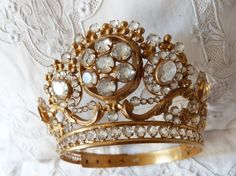 LARGE Antique French jeweled crown by MyFrenchAntiqueShop on Etsy