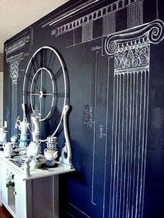 All Things Thrifty Home Accessories and Decor: Chalkboard Paint Wall: Blue Ribbon Award Diy Chalkboard Paint, Chalk Wall, Chalkboard Ideas, Chalk Board, Chalkboard Walls, Chalkboard Drawings, Chalkboard Lettering, Chalkboard Doodles, Chalk Drawings