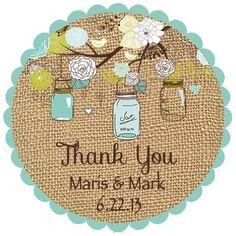 Custom Wedding Favor Stickers - Mason Jar Burlap Personalized Stickers Labels Bridal Shower Favors. $5.00, via Etsy.