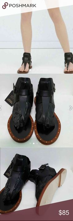 NWT black Zara Sandals 6.5 Unique and gorgeous bought them here but never worn still in box new!! Size 6.5 listed in ♏️ercari for cheaper price Zara Shoes Sandals