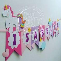 Banner para el cumple #12 de Isabella. #decopartybox #hechoamanohechoconamor Unicorn Birthday Parties, Diy Birthday, Birthday Party Decorations, Unicorn Banner, Little Pony Party, Unicorn Crafts, Happy Birthday Banners, Diy Party, Party Planning
