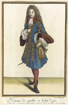 """1687 French Fashion plate """"Recueil des modes de la cour de France, 'Homme de Qualité en Habit d'Épée'"""" at the Los Angeles County Museum of Art, Los Angeles"""