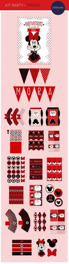 Kit imprimible Minnie Mouse - Celebrando Fiestas