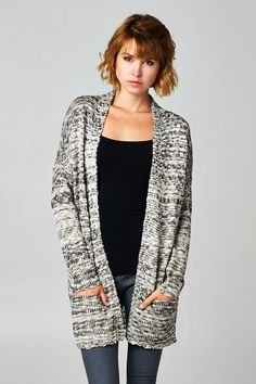 Casual, Comfy, Soft Marble Knit Open From Sweater with Pockets.