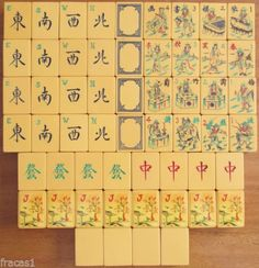 Vintage 1930s Chinese Bakelite Mah Jong Set, 16 Flowers, Dragons, Winds, Black Wafer Backs, (stickered Jokers)