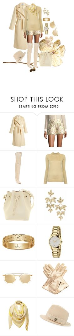 """GOLD PARTY"" by grettelcabrera on Polyvore featuring moda, MaxMara, RED Valentino, Yeezy by Kanye West, Lemaire, Sophie Hulme, Gucci, Thierry Lasry, Loewe y Philip Treacy"