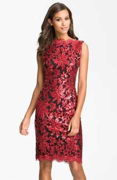 Tadashi Shoji Sleeveless Sequin Lace Sheath Dress