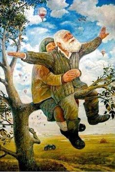 """""""Positive thinking from these two who arrived here by motorbike ' I Believe I Can Fly' by Leonid Baranov . Couple Painting, Old Couples, Ecole Art, Gif Animé, Norman Rockwell, Russian Art, Conte, Wonderful Images, Alter"""