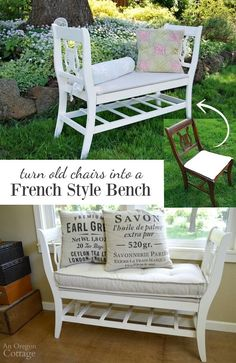 To Make A French-Styled Bench From Old Chairs How to make a French style bench from old chairs upcycling them into high-end looking furniture.How to make a French style bench from old chairs upcycling them into high-end looking furniture. Refurbished Furniture, Repurposed Furniture, Shabby Chic Furniture, Rustic Furniture, Furniture Makeover, Vintage Furniture, Home Furniture, Furniture Design, French Furniture