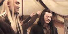 The Hobbit: the Battle of the Five Armies behind the scenes BTS - Lee Pace (Thranduil) and Luke Evans (Bard)