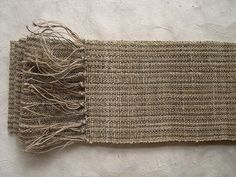 """""""Kakuobi"""" Handwoven Japanese kimono sash for men  by Harue Nishikawa on flickr    hand spun nettle yarn, hand spun hemp yarn  dyed with: Onion skin"""