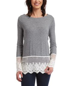 Heather Gray Lace-Trim Top