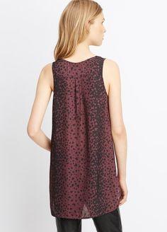 Silk Sleeveless Leopard Print V-Neck Blouse