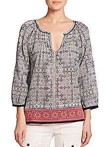 Joie - Cherree Printed Embroidered Cotton Blouse - cotton