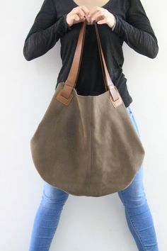 Olive Gree Leather Tote Bag Soft Leather Bag  by LadyBirdesign, $243.00