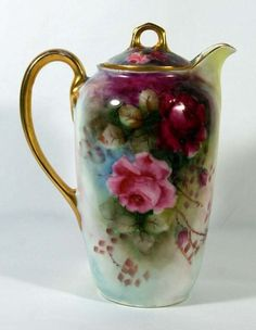 Limoges Style Rose Chocolate Pot