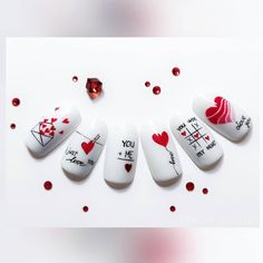 Disney Acrylic Nails, Acrylic Nails Coffin Short, Cute Acrylic Nails, Heart Nail Art, Heart Nails, Nail Art Designs Videos, Nail Designs, Love Nails, Pretty Nails