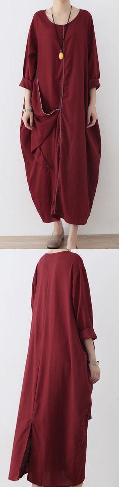 burgundy stylish asymmetric hem linen  zippered maxi dress