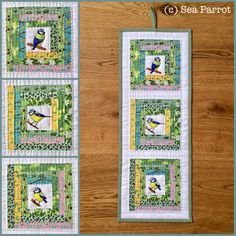 Mini hand-quilted log cabin blue tit wall hanging made using original Sea Parrot fabrics. Spring garden fat quarters and bird fabric strips can be found on on my website. Bird Fabric, Patchwork Fabric, Bird Quilt, Blue Tit, Mini Hands, Fabric Strips, Spring Garden, Fat Quarters, Textile Art