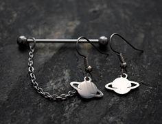 100% Solid Steel Saturn 14g 1.6mm Industrial Scaffold Cartilage Piercing  Body Jewelry Earrings Moon Stars