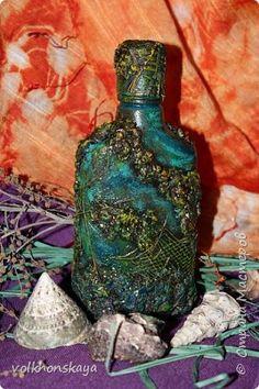 Декор предметов Аппликация Ассамбляж Папье-маше Морская бутылка  Коралловые рифы ч 3 Акварель Бутылки стеклянные Мешковина Сетка фото 1
