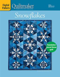 """Crystal snowflakes glisten on this foundation-pieced 65 ½"""" x throw or lap quilt. Fun for the holidays or enjoy it all winter.Pattern includes:Complete yardage and cutting requirementsQuilting planTemplate-free qu Paper Pieced Quilt Patterns, Quilt Block Patterns, Quilt Blocks, Crochet Patterns, Quilting Projects, Quilting Designs, Quilting Ideas, Sewing Projects, Snowflake Quilt"""