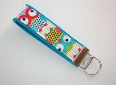 Key FOB / KeyChain / Wristlet   Natural Owl  blue by Laa766, $6.50  fabric / preppy / wristlet