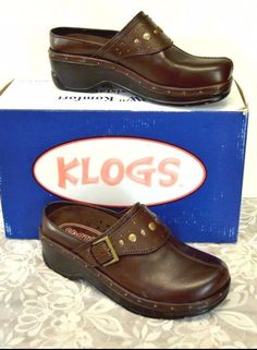 Klogs Austin Open Back Clogs 11 M Brown Leather Brass Buckle Studs Monk Strap #KLOGS #Clogs #WeartoWork