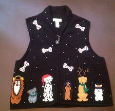 Christmas Sweater Vest L Large Doggies Bechamel Dog Bones Black Cotton Blend #Bechamel #VestSleeveless