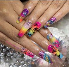 Add me on snap summer nails Summer Acrylic Nails, Best Acrylic Nails, Summer Nails, Colorful Nail Designs, Beautiful Nail Designs, Nail Art Designs, Gorgeous Nails, Pretty Nails, Nail Art Pastel