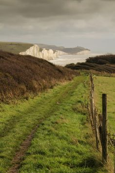 Path leading down to the beach at Seaford head, East Sussex, England.