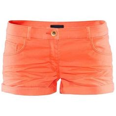 LUCLUC Orange Cotton Pleated Pocekets Shorts (94 RON) ❤ liked on Polyvore featuring shorts, bottoms, pleated shorts, cotton shorts and orange shorts