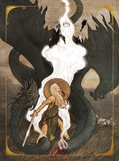 Eowyn and the Nazgul by ~bluefooted on deviantART. I love how this makes her look like a saint, a la St. Michael or St. George-- especially the way her shield becomes her halo.
