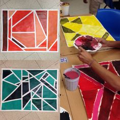 tine & shade paintings Add zentangle drawings in white tape areas, value, color, monochromatic, non-objective Classe D'art, Monochromatic Art, Middle School Art Projects, 7th Grade Art, Value In Art, Art Lessons Elementary, Painting Lessons, Art Lesson Plans, Art Classroom