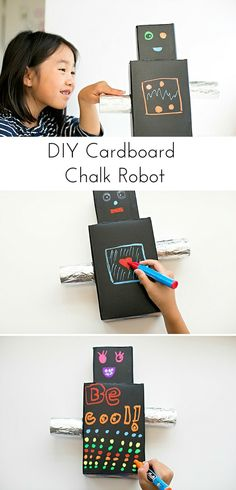 Make a cardboard chalk robot. So much fun for kids to doodle, draw and write on over and again!